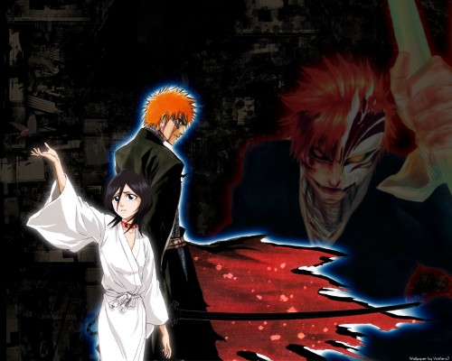 Ichigo with his Bankai, Tensa Zangetsu wearing the bad-ass Zangetsu